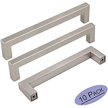 10Pack Goldenwarm Brushed Nickel Square Bar Cabinet Pull Drawer Handle Stainless Steel Modern Hardware for Kitchen and Bathroom Cabinets Cupboard, Center to Center 5in(128mm)