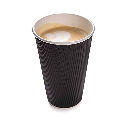 500-CT Disposable Black 16-OZ Hot Beverage Cups with Ripple Wall Design: No Need for Sleeves – Perfect for Cafes – Eco-Friendly Recyclable Paper – Insulated – Wholesale Takeout Coffee Cup by Restaurantware