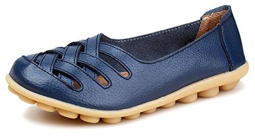 Kunsto Kvinna Dagdrivaren För Läder Skor Halka På Blå Ihåliga Ut