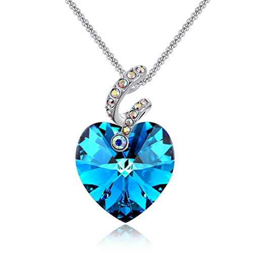 CZ Solitaire Heart Ribbon Pendant Necklace Adorned with Blue and Purple Swarovski Crystals by Richapex (Blue)