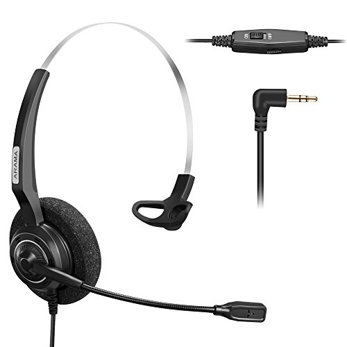 Headset For Cordless Phones - Arama 2.5mm Phone Headset w/Noise Canceling Boom Mic In-line Volume Mute-Switch for Panasonic Cordless Phones and Grandstream Polycom Cisco Linksys SPA Panasonic Gigaset (2.5-Black-Mono)