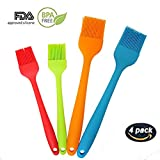Silicone Basting Brush,Food Grade Pastry Brush, Kitchen Brush With High Temperature Resistance,Use For BBQ Grilling/Dessert Baking/Marinating, 8''&10.2'' Length (Pack of 4) (4)