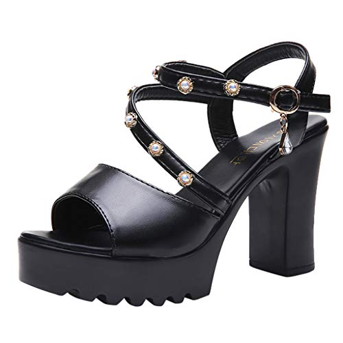 (Shusuen Women's Hi-Lo High Heel Platform Pump Peep Toe Sandals Muffin Rivet Shoes Black)