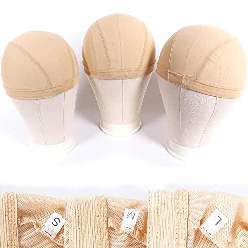 Mesh Dome Caps For Wig 6 Pcs Stretchable Beige Mesh Dome Wig Cap Breathable Spandex Wig Making Cap (6 Pcs, Beige, #S)
