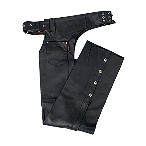 Hot Leathers Fully Lined Leather Chaps (Black, X-Small) CHM1001 BLACK; XS