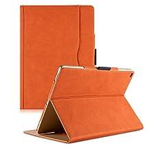 iPad 2 iPad 3 iPad 4 Leather case , Leather Smart Stand Folio Business Case Cover for Apple iPad 2 iPad 3 iPad 4th Generation , with Auto Sleep/Wake, Stylus Holder - Orange