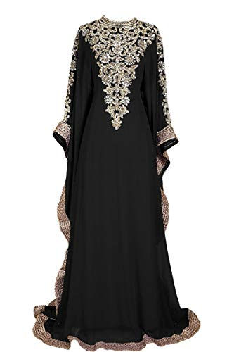 Royal Bliss Kaftan For Women-Long Sleeve Maxi Dress, Gown Formal Lounge Wear (Black), Free Size