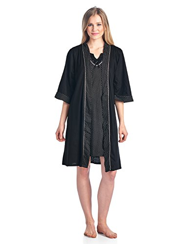 Casual Nights Women's Sleepwear 2 Piece Nightgown and Robe Set - Black - Large