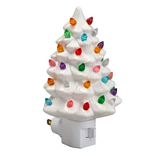 (Decorative Ceramic Christmas Tree Night Light -White (1 Pack))
