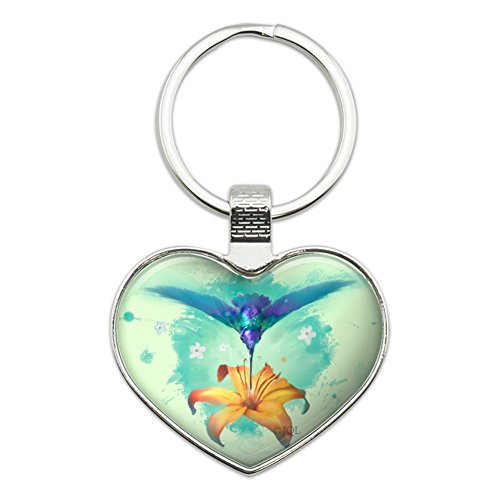 Hummingbird and Tiger Lily Flower Heart Love Metal Keychain Key Chain Ring