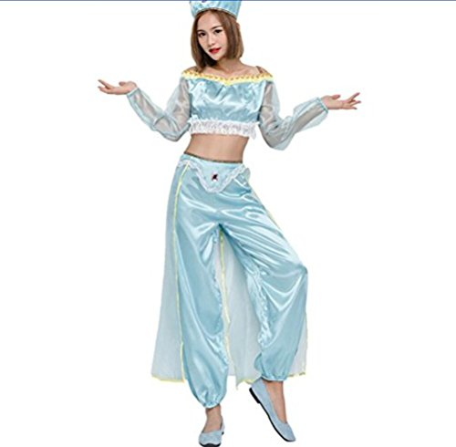 Crossdressing Halloween Costumes (Costume Play COSPLAY Costumer Halloween Dress Lamp of Aladdin Nautch Mother Costume Belly Dance Dressing (Blue))