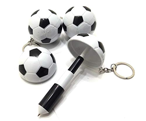 GSC Moda Set of 10 Ball Pen with Soccer Football Ball Design Blue Ink Writing Game boy - Keyring Retractable - World Cup Rusia 2018