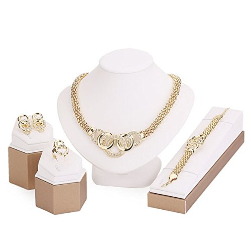 18k Set Necklace (18K Gold Plated Shinning Wide Necklace Jewelry Sets Necklace Earrings Bracelet)
