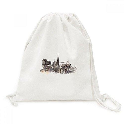 Notre-Dame de in Paris France Canvas Drawstring Backpack Travel Shopping - Notre Gym Bag Dame