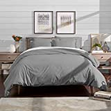Duvet Covers and Shams Bare Home Luxury 3 Piece Duvet Cover and Sham Set - Premium 1800 Ultra-Soft Brushed Microfiber - Hypoallergenic, Easy Care, Wrinkle Resistant (Full/Queen, Light Grey)