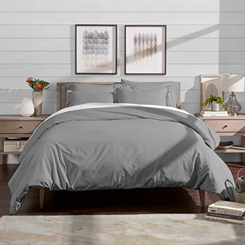 iece Duvet Cover and Sham Set - Premium 1800 Ultra-Soft Brushed Microfiber - Hypoallergenic, Easy Care, Wrinkle Resistant (Full/Queen, Light Grey) ()