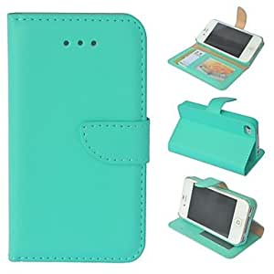 JJE High Quality Solid Color PU Leather Full Body Case with Stand and Card Slot for iPhone 4/4S (Assorted Colors) , Pink
