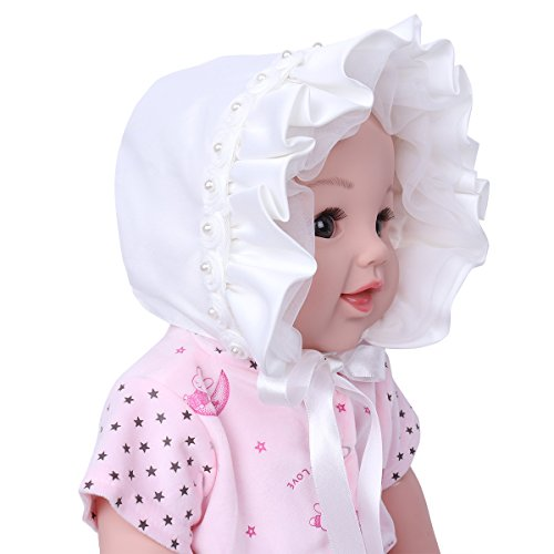 - dPois Infants Toddlers Baby Girls Rose Floral Ribbon Christening Bonnet Sun Hat with Chin Strap Ivory 3-9 Months