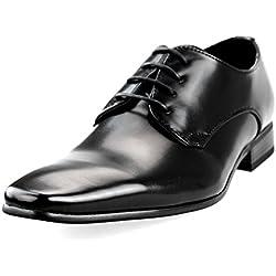MM/ONE Oxford Shoes Blucher Men's Shoes KingSize Big Size Larger Lace-up Plain toe Black 49 EU