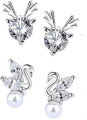 Zeitenwende - Pendientes de plata sterling 925 con diseños para mujer – Incrustaciones de circonia cúbica – Varios modelos – Caja de regalo