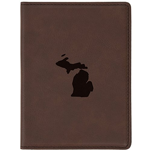 "Leather Brown Michigan - Michigan Brown Leather Passport Holder - Laser Etched Design - 4 X 5.5"" Engraved Passport Holder For Women And Men"