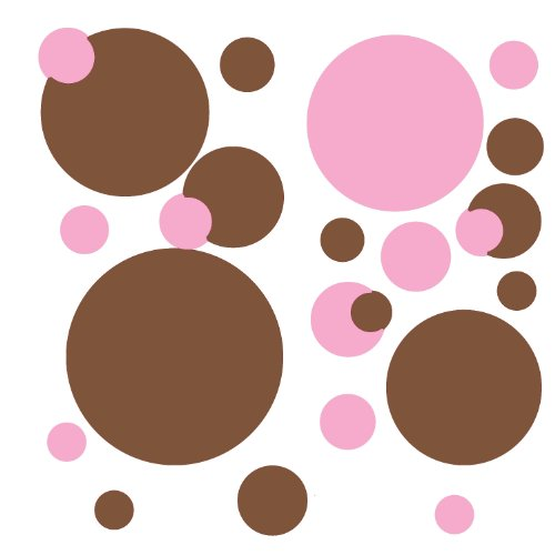 RoomMates RMK1245SCS Just Dots Pink and Brown Peel & Stick Wall Decals (Pink Brown Wall Decor)