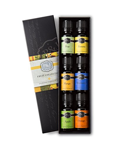 - Fruit Set of 6 Premium Grade Fragrance Oils - Orange, Mango, Apple, Blueberry, Banana, Pear - 10ml