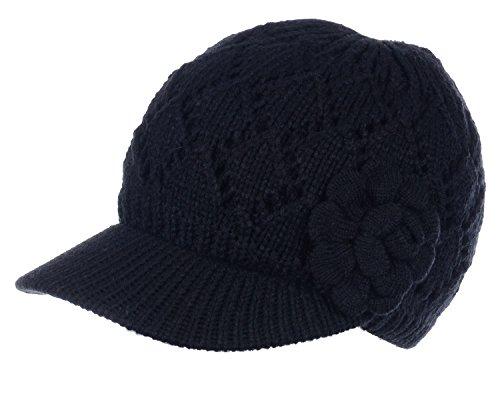 Knitted Beanie Hat Pattern (Be Your Own Style BYOS Womens Winter Warm Fleece Lined Knitted Beret Beanie Hat Cap w/Visor Peak (Diamond Pattern w/Flower Black))