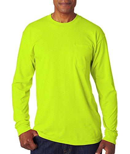 Bayside 1730 50/50 Long-Sleeve Pocket T-shirt - Lime Green - X-Large ()