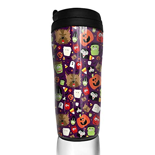 Happy Pumpkin Halloween Mugs Tea Coffee Cups With Lid For Travel Camping Hiking Sports ()