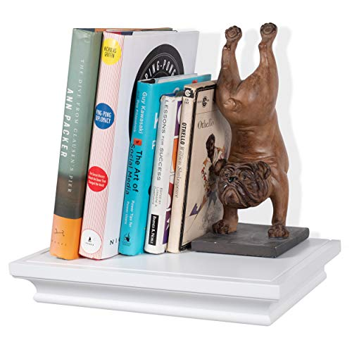 brightmaison White Crown Molding Floating Shelf Picture Ledge for Frames Book Display Décor with Concealed Metal Bracket for Stable Wall Mount