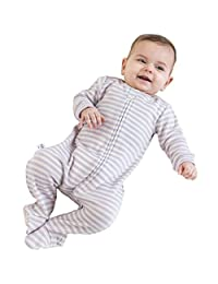 Footed Pajamas from Woolino, 100% Merino Wool Blanket Sleeper, Taggless Neck, 3-6 Months, Lilac
