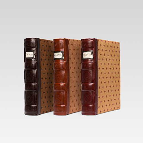 Bellagio-Italia Tuscany DVD Storage Binder Assortment 3-Pack - Stores Up To 144 DVDs, CDs, or Blu-Rays - Includes 1 Cognac, 1 Chestnut, and 1 Crimson by Bellagio-Italia