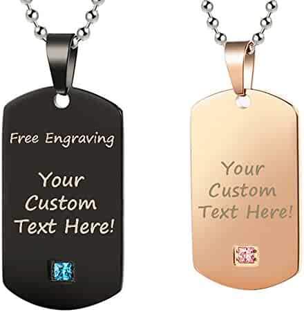 eb659d2b1f GAGAFEEL Personalized Custom Engraved Couple Friendship Family Necklace ID  Tag Pendant Gemstone Love Gift