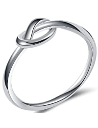 Jude Jewelers Durable Stainless Steel Silver Black Love Knot Ring Promise Celtic