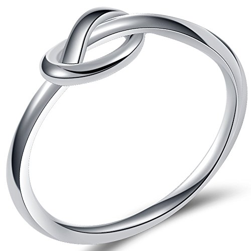 Jude Jewelers Durable Stainless Steel Silver Black Love Knot Ring Promise Celtic (Silver, 3)