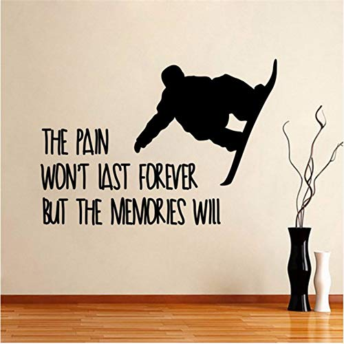 LSFHB Snowboard Wall S Quote The Pain Won't Last But Mural Vinyl Sticker Removable Gym Living Room Sport Home Decor -