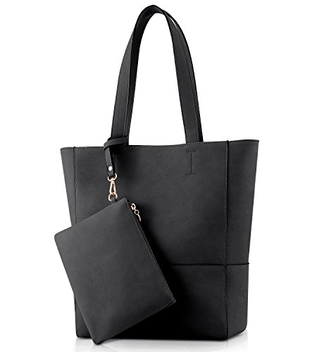 (Plambag Vegan Leather Tote, Women's Faux Leather Purse Handbag for Work Office, with Removable Wrist Bag(Black))