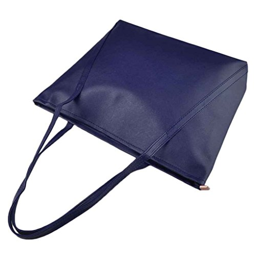 Republe Women Casual Pocket Leather Shoulder Bags Pu Large Capacity Waterproof Female Simple Color Blue Bags