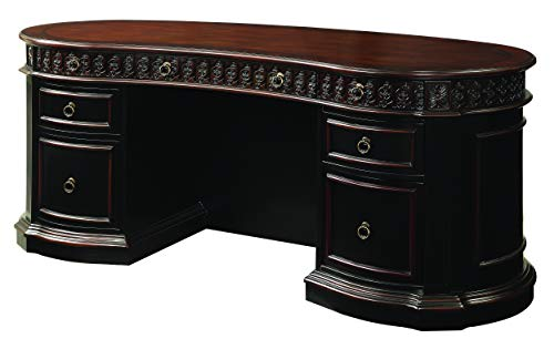 Rowan Oval Double Pedestal Executive Desk Black and Chesnut Drawer Pedestal Executive Desk