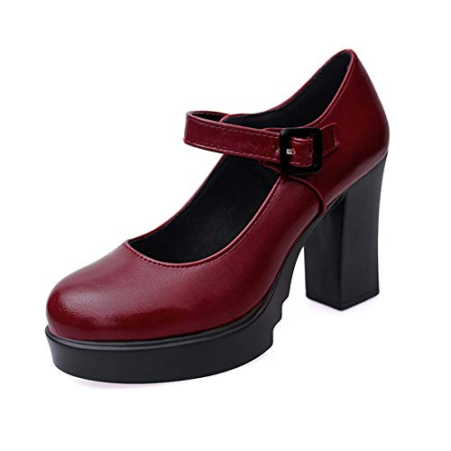 Women Mary Jane Pump Classic High Block Heel Lolita Platform Shoes Ankle Buckle Work Shoes by Lowprofile Red ()