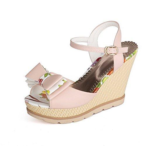 VogueZone009 Women's Metal High-Heels PU Assorted Color Peep Toe Sandals Pink 1VjX87h5