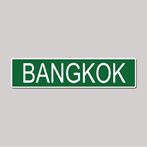 BANGKOK City Pride Green Vinyl on White - 4X17 Aluminum Street Sign County Street Sign