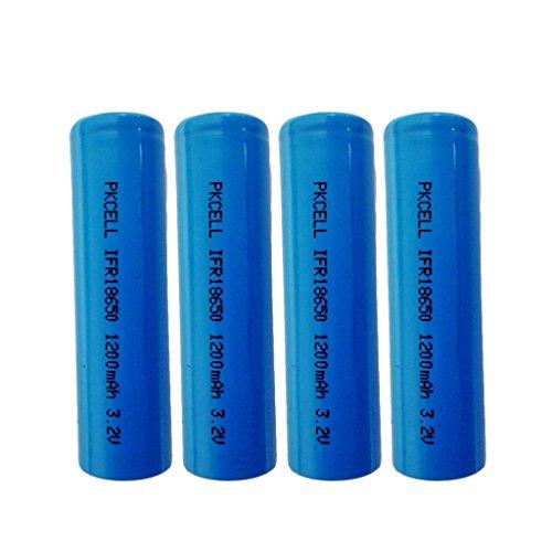 4pcs 3.2 Volt 1200mAh LiFePO4 18650 Battery in flat top