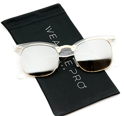 WearMe Pro - Clubmaster Style Sunglasses Retro Mirror Lens Sunglasses (Clear Frame / Mirrored Silver, (Clear Silver Mirror Lens)