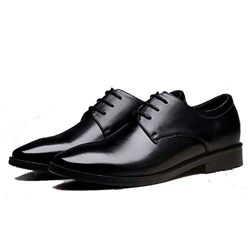 Britanniche Cuoio Uomo Affari da Scarpe Ricchi Abbigliamento Scarpe YIWANGO Formale Aumento Black Interno Uccelli di Scarpe nafqAw6S0