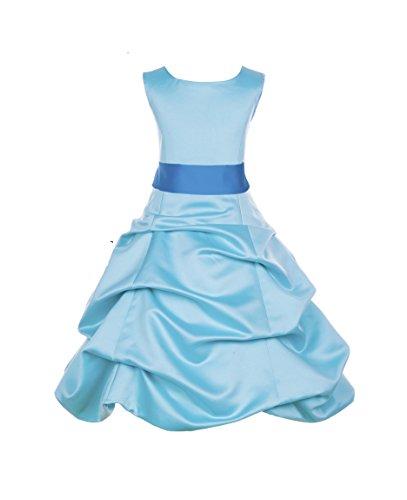 ekidsbridal Spa Blue Satin Pick-Up Bubble Flower Girl Dress Toddler Dress 806S 16