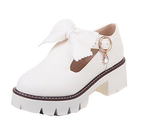 Blanc Couleur Unie Boucle Rond Pu Chaussures Légeres Agoolar Femme Cuir Gmbdb011822 qtwTv