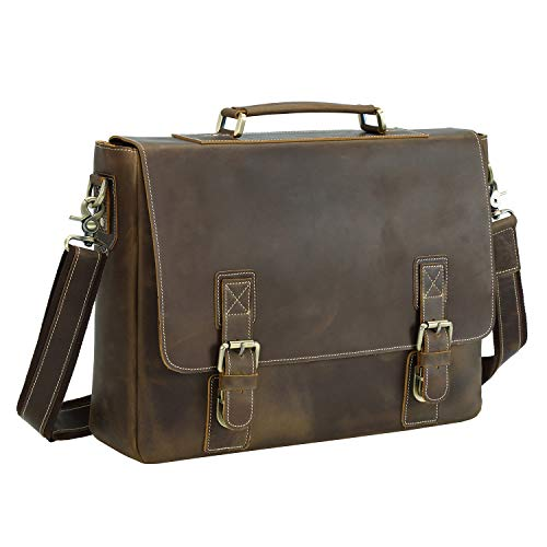 Texbo Men's 16 Inch Full Grain Cowhide Leather Laptop Briefcase Messenger Bag ()