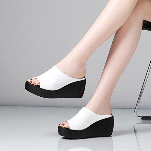 ZPPZZP Ms sandali pantofole trascina la spessa rilassatevi nel a tacco alto 39EU bianco